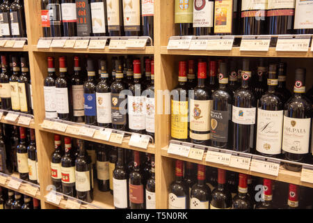 Italian wines for sale in a Siena wine store,Tuscany,Italy - Stock Image