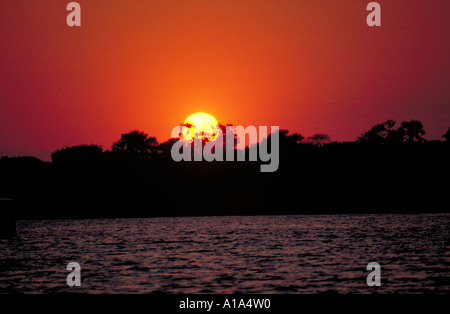 Sunset Over the Zambesi River Zimbabwe Africa - Stock Image