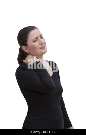 Middle aged woman with chronic pain syndrome fibromyalgia suffering from acute neckache, isolated on white background - Stock Image