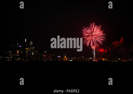 Fireworks over Philadelphia - Stock Image