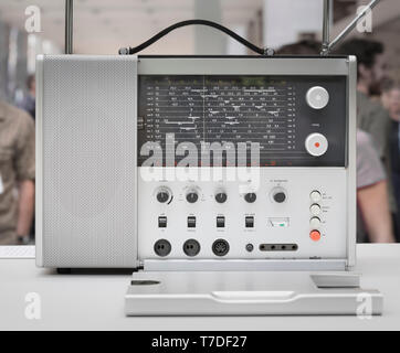 Iconic 20c Braun aluminium portable radio designed by Dieter Rams - Stock Image