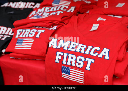 America First T-shirts on sale at Ray Price Capital City Bike fest in Raleigh, North Carolina, on September 23, - Stock Image