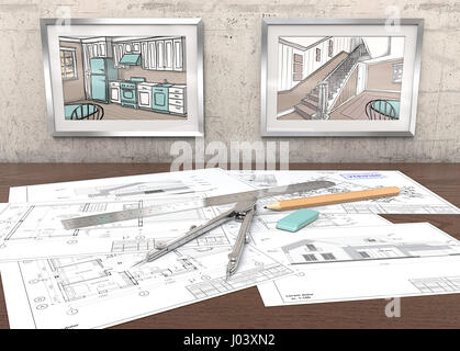 2 Metal Picture Frames on concrete Wall with house sketches. Generic Architectural blueprints on table. Ruler, Pencil - Stock Image