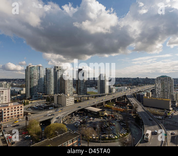 Northern approach to the Granville Street Bridge, Vancouver, BC, Canada - Stock Image