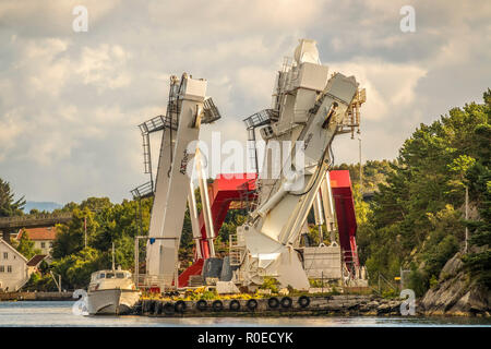 AxTech A-Frame Gantry Cranes, Stavanger Norway - Stock Image