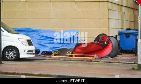 Brighton UK 3rd March 2019 - Homeless tents on Brighton seafront get blown apart as Storm Freya batters parts of Britain today Credit: Simon Dack/Alamy Live News - Stock Image
