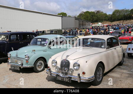 Morris Minor and Jaguar Mk2 (both 1965), British Marques Day, 28 April 2019, Brooklands Museum, Weybridge, Surrey, England, Great Britain, UK, Europe - Stock Image
