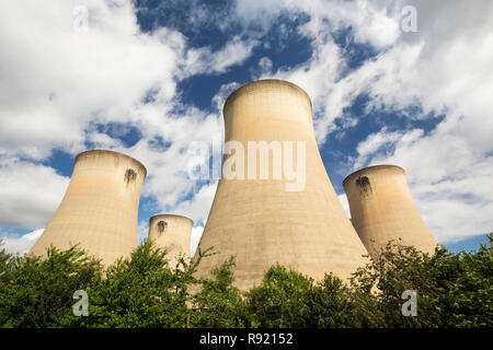 Drax power station in Yorkshire, UK, is the largest emitter of C02 in Europe. They are currently converting the power station to burn a percentage of biofuel as well as coal. Most of the wood is sourced from the US, with much of it coming from virgin forest, not exactly an environmentally friendly move. - Stock Image