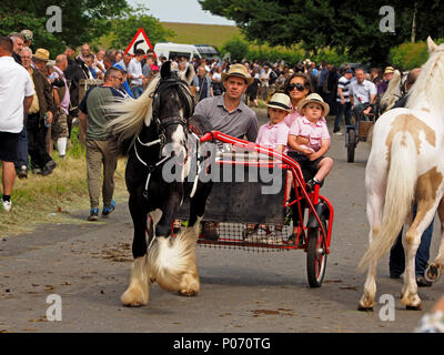 stylish family including mother and boys in pink shirts riding a horse drawn trap on the hill Appleby-in Westmorland at the crowded annual Appleby Horsefair, Cumbria, England UK, 8 June, 2018. family riding trap at Appleby Credit: Steve Holroyd/Alamy Live News - Stock Image