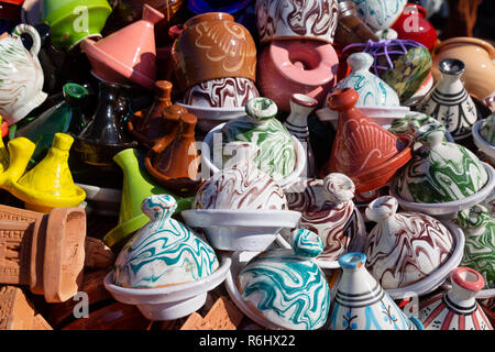 Morocco souvenirs - small pottery tagines for sale as gifts and souvenirs, Marrakesh souk, the medina, Marrakech Morocco North Africa - Stock Image