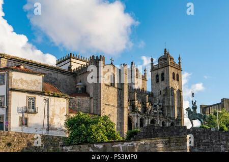 Porto Cathedral, Sé do Porto, Statue of Dom Pedro IV at  Porto, Portugal - Stock Image