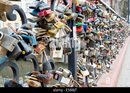 Love padlocks on  Certovka Kampa bridge in Prague - Stock Image