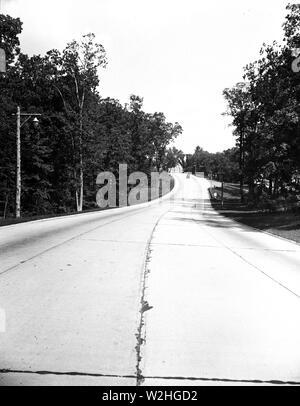 Empty road ca. 1934 - Stock Image
