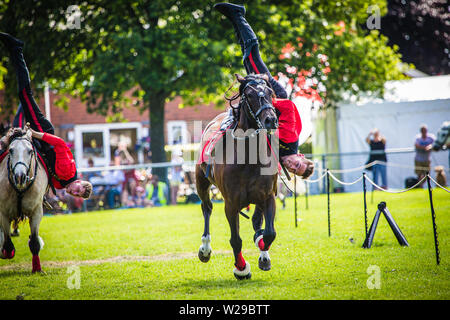 90th Kent County Show, Detling, 6th July 2019. Performers from The International Dzhigitovka including current world champion Sergey Murugov on horses - Stock Image