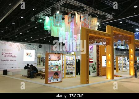 Abu Dhabi. 24th Apr, 2019. Photo taken on April 24, 2019 shows the 29th edition of Abu Dhabi International Book Fair, in Abu Dhabi, the United Arab Emirates (UAE). The 29th edition of Abu Dhabi International Book Fair kicked off on Wednesday at the Abu Dhabi National Exhibition Centre, with more than 500,000 titles on display. Credit: Su Xiaopo/Xinhua/Alamy Live News - Stock Image
