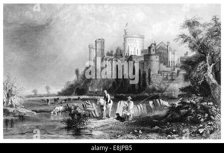 Windsor Castle from the west circa 1880 - Stock Image