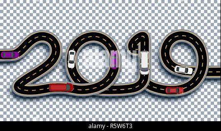 2019 New Year. The road is stylized as an inscription. Trucks and cars. Isolated On Transparent Background With Shadow. Illustration - Stock Image