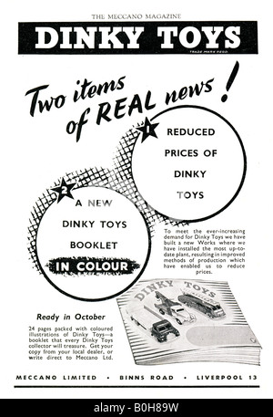 Advertisement for Dinky Toys 1953 FOR EDITORIAL USE ONLY - Stock Image