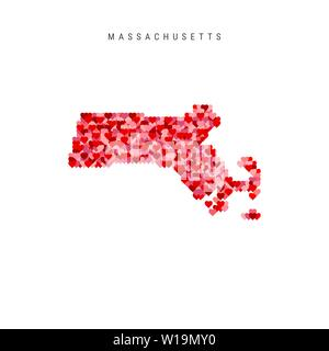 I Love Massachusetts. Red and Pink Hearts Pattern Vector Map of Massachusetts Isolated on White Background. - Stock Image