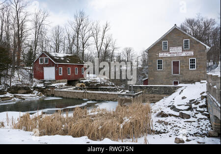 Morningstar Mill historic site in Winter snow in St. Catharines, Ontario, Canada - Stock Image