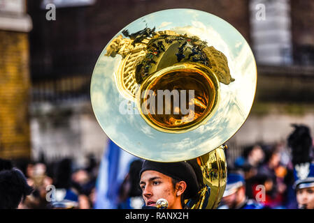 Redlands All Star Marching Band from California, USA, at London's New Year's Day Parade, UK. Brass instrument with reflections - Stock Image