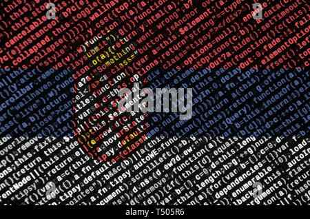 Serbia flag  is depicted on the screen with the program code. The concept of modern technology and site development. - Stock Image