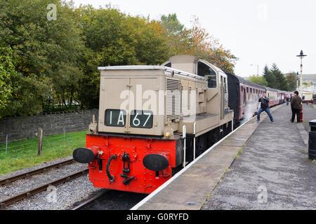 Class 14 diesel-hydraulic locomotive D9537  at Rawtenstall station on the East Lancashire Railway. - Stock Image