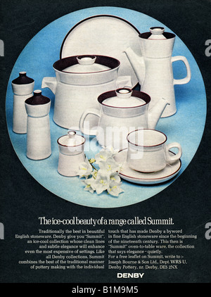 1970 Advertisement for Denby English Stoneware Pottery oven to table ware FOR EDITORIAL USE ONLY - Stock Image