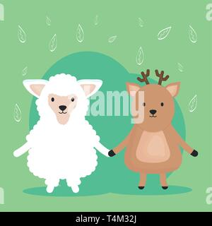 cute sheep and reindeer adorable characters vector illustration design - Stock Image