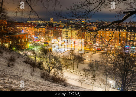 View northeast over Stockholm, seen from Observatorielunden, the old observatory hill in Norrmalm.  Street below - Stock Image