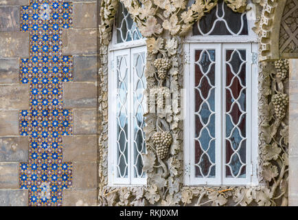 Decoration fragment of Pena palace, Sintra, Portugal - Stock Image