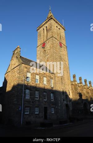 Tower of  St Salvator chapel university of St Andrews University Fife Scotland  February 2019 - Stock Image