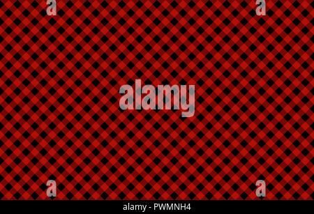 Diagonal Gingham-like pattern with red on black checks, seamless design of symmetrical overlapping stripes in a single solid color - Stock Image