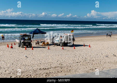 Surfers Paradise, Gold Coast, Australia, the countries premier tourist destination, The beach is the primary facility and even in Winter Lifeguards ar - Stock Image