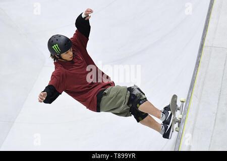 Murakami city Skate Park, Niigata, Japan. 12th May, 2019. Ayumu Hirano, MAY 12, 2019 - Skateboarding : The 3rd Japan Skateboarding Championship Men's Park Final at Murakami city Skate Park, Niigata, Japan. Credit: MATSUO.K/AFLO SPORT/Alamy Live News - Stock Image