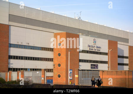 Blackburn Rovers football stadium, Ewood Park, Darwen End Stand, Blackburn, Lancashire, UK - Stock Image