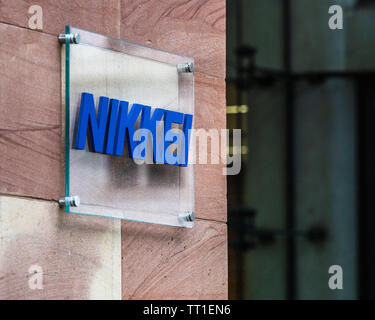 Nikkei London Head Office at Bracken House, also home to the Financial Times. Nikkei are owners of the Financial Times. Editorial Headquarters for EMEA. - Stock Image