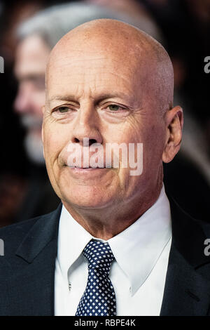 Bruce Willis at the UK Premiere of GLASS on Wednesday 9 January 2019 held at Curzon, Mayfair, London. Pictured: Bruce Willis. Picture by Julie Edwards/LFI/Avalon.  All usages must be credited Julie Edwards/LFI/Avalon. - Stock Image