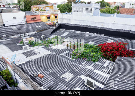 Cartagena Colombia Old Walled City Center centre Getsemani neighborhood rooftops roofs corrugated tin metal roofing - Stock Image