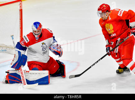 Bratislava, Slovakia. 13th May, 2019. From left Czech ice hockey player PATRIK BARTOSAK, ALEXANDR OVECHKIN of Russia in action during the match Czech Republic against Russia at the 2019 IIHF World Championship in Bratislava, Slovakia, on May 13, 2019. Credit: Vit Simanek/CTK Photo/Alamy Live News - Stock Image