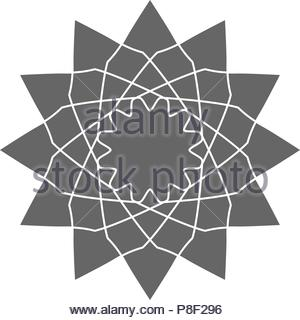 Circular geometrical ornament. Vector ornamental monochrome isolated figure, flower or religious emblem for your design - Stock Image