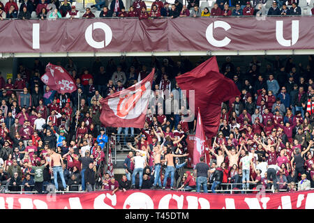 Turin, Italy. 14th Apr, 2019.  Serie A football, Torino versus Cagliari; Rolling Stones fans amongst the supporters of Torino Credit: Action Plus Sports Images/Alamy Live News - Stock Image