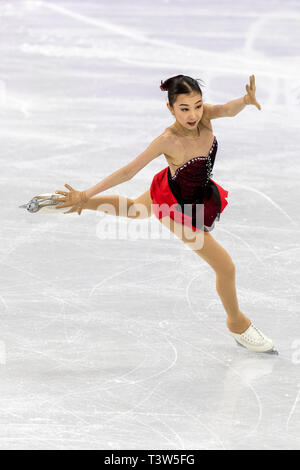 Elizabet Tursynbayeva (KAZ) competing in the Figure Skating - Ladies' Short at the Olympic Winter Games PyeongChang 2018 - Stock Image