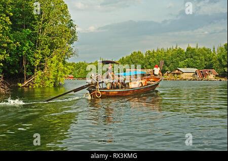 Boat in Krabi River, Krabi, Thailand - Stock Image