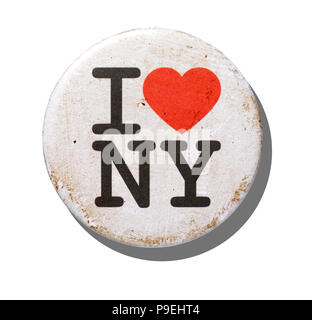 An overhead shot of a distressed I love New York badge. - Stock Image