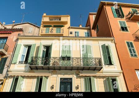 Colorful facades, Villefranche sur mer, Cote d Azur, South of France - Stock Image