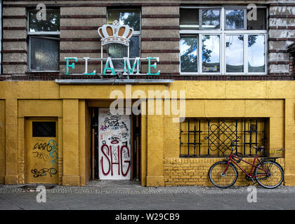 Flame Club Berlin. Exterior view of closed club in Dillenburgerstr. 1, Berlin - Stock Image