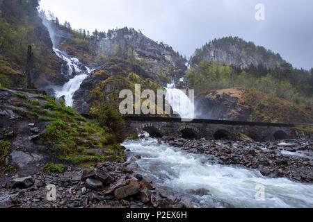 Waterfall, Odda, Fylke, Hordaland, Norway, Europe - Stock Image