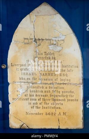 Liverpool Kensington opened 1837 gravestone Israel Barned 1777 - 1858 wealthy banker philanthropist founder Deane Road Cemetery & King David School - Stock Image