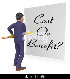 Cost Vs Benefit Note Means Comparing Price Against Value. Return On Investment Or Balancing Gain - 3d Illustration - Stock Image